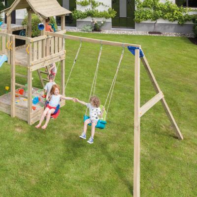 wooden blue rabbit addon swing for playtower with seat and babyseat