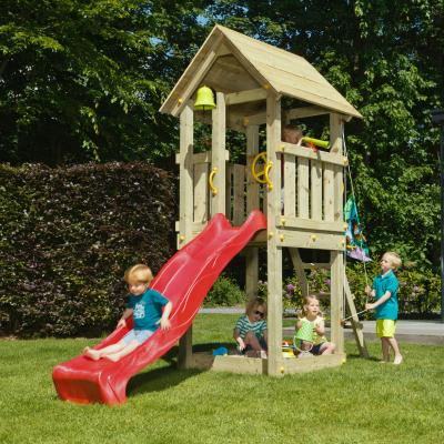 wooden blue rabbit playtower with boy on slide and hoisting flag