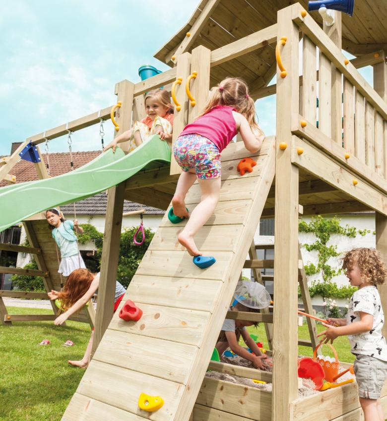 wooden blue rabbit climbing wall for playtower with girl climbing on stones