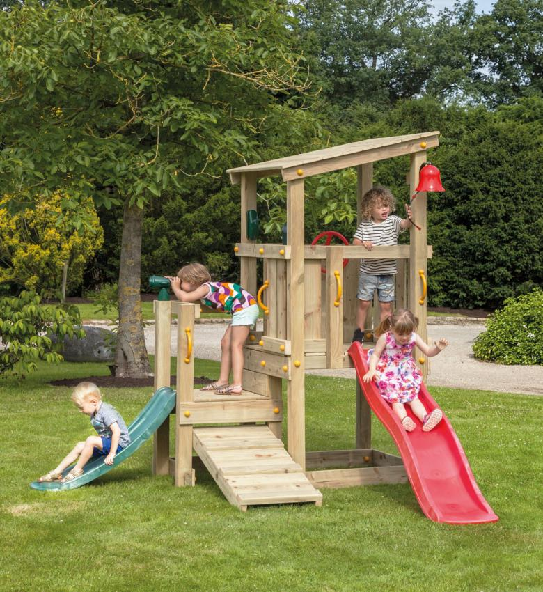 wooden Blue Rabbit playtower cascade with slide