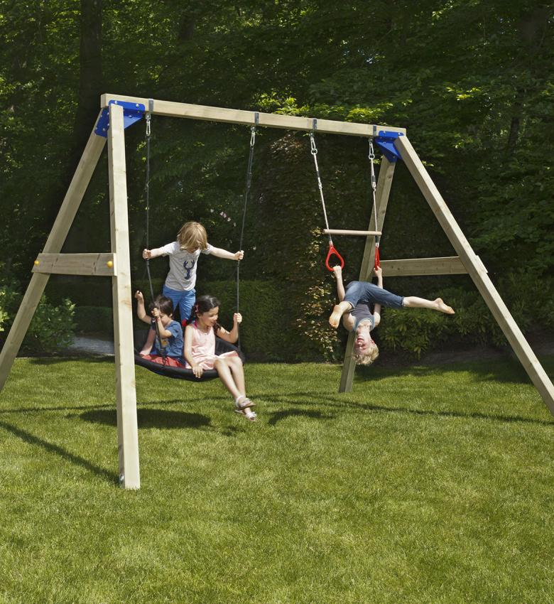 wooden blue rabbit free standing swing freeswing with children on swibee nestswing and trapeze