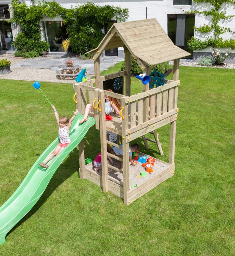 wooden blue rabbit playtower pagoda with slide