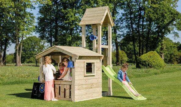 wooden blue rabbit playtower lookout with shop and slide