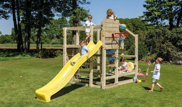 wooden blue rabbit playtower crossfit with tumbler bar and slide