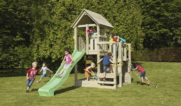 wooden blue rabbit playtower penthouse with girl on apple green slide and boy climbing net