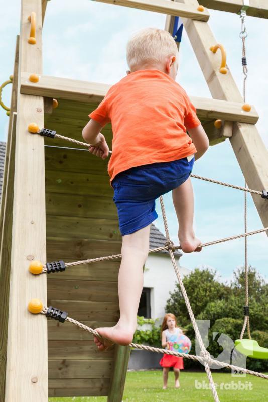 wooden Blue Rabbit 2.0 climbing module @challenger swing with boy climbing net