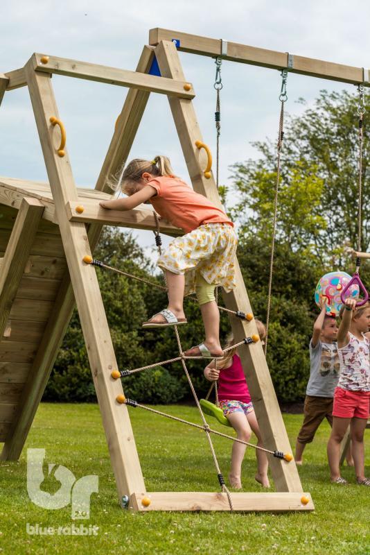 wooden Blue Rabbit 2.0 climbing module @challenger swing with girl climbing net