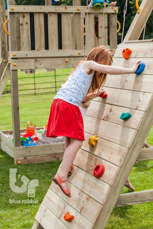 wooden Blue Rabbit 2.0 climbing module @challenger swing with girl climbing stones