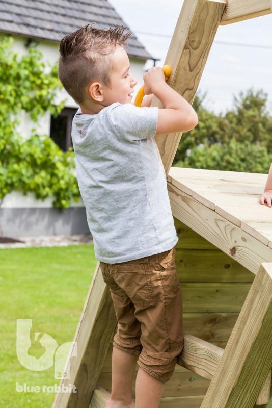 wooden Blue Rabbit 2.0 climbing module @challenger swing with boy climbing ladder