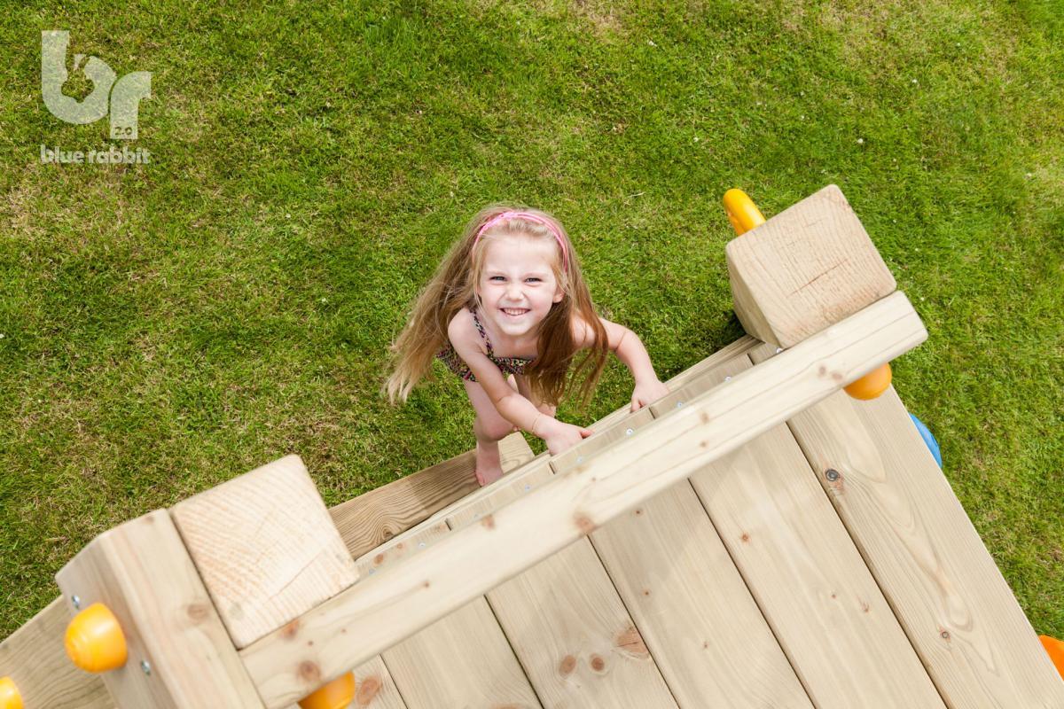 wooden Blue Rabbit 2.0 climbing module @challenger swing with girl climbing ladder