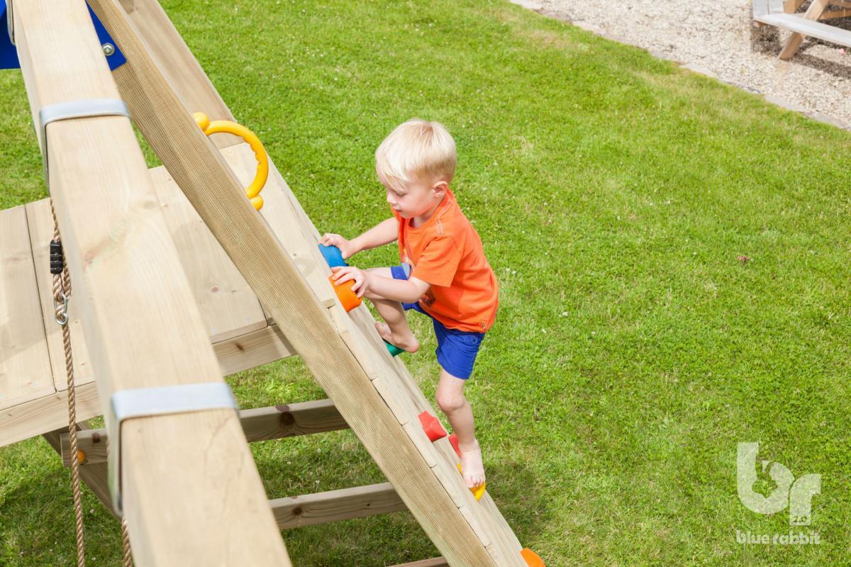 wooden Blue Rabbit 2.0 climbing module @challenger swing with boy climbing wall
