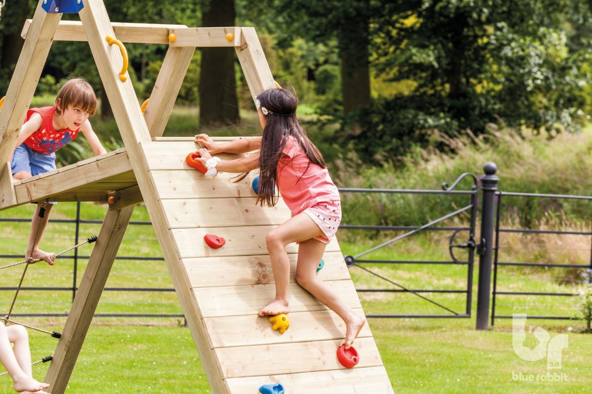 wooden Blue Rabbit 2.0 climbing module @challenger swing with girl climbing wall