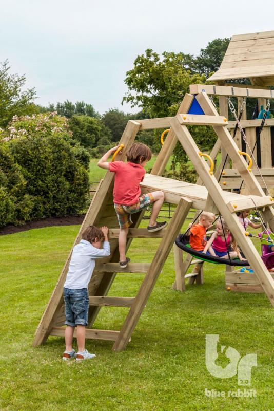 wooden Blue Rabbit 2.0 climbing module @challenger swing with boys climbing ladder