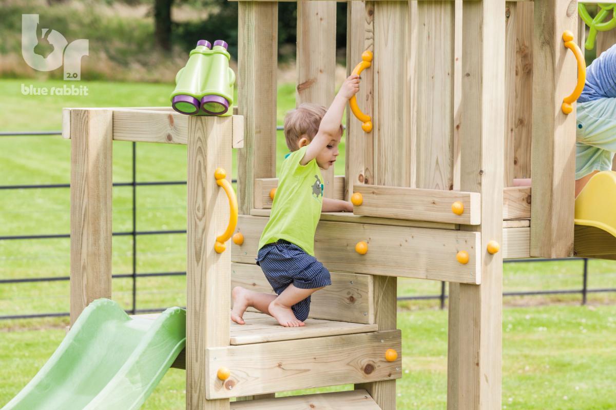 wooden Blue Rabbit playtower cascade with platform