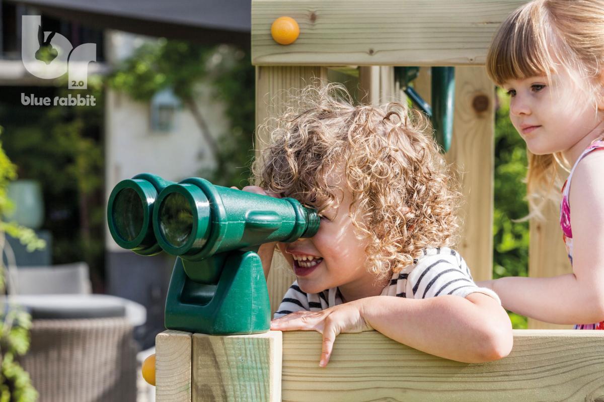 wooden Blue Rabbit playtower cascade with binoculars