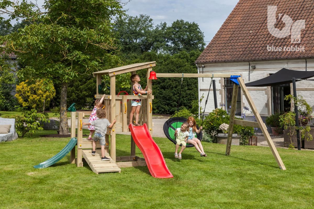 wooden Blue Rabbit playtower cascade with slide and swing