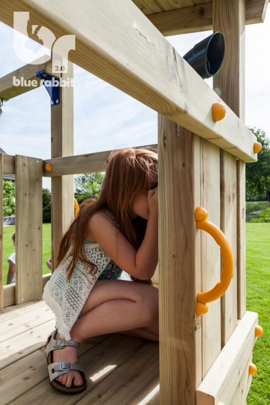 wooden Blue Rabbit playtower cascade with girl looking through periscope
