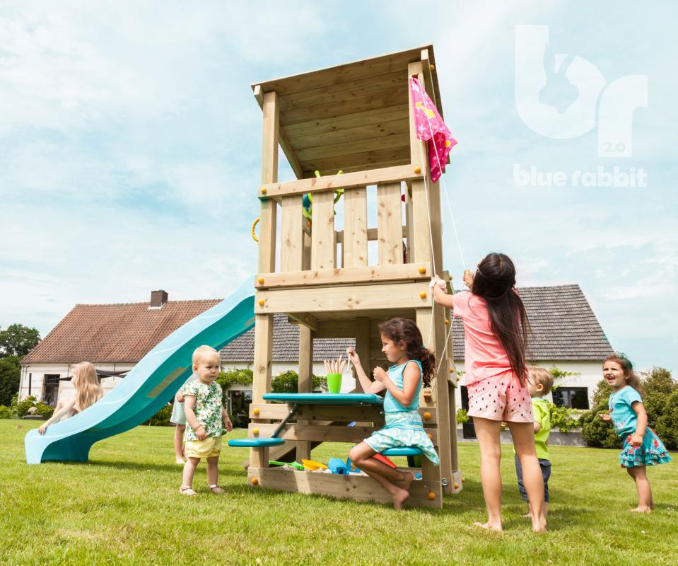 wooden Blue Rabbit playtower cascade with slide and flag