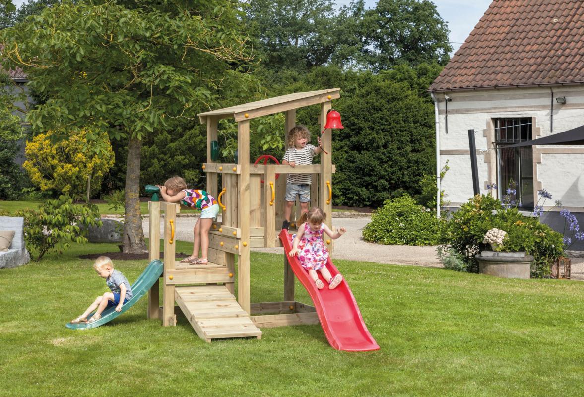 wooden Blue Rabbit playtower cascade with slide