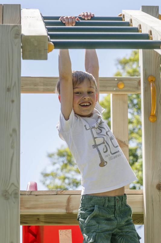 wooden blue rabbit playtower crossfit with tumbler bar