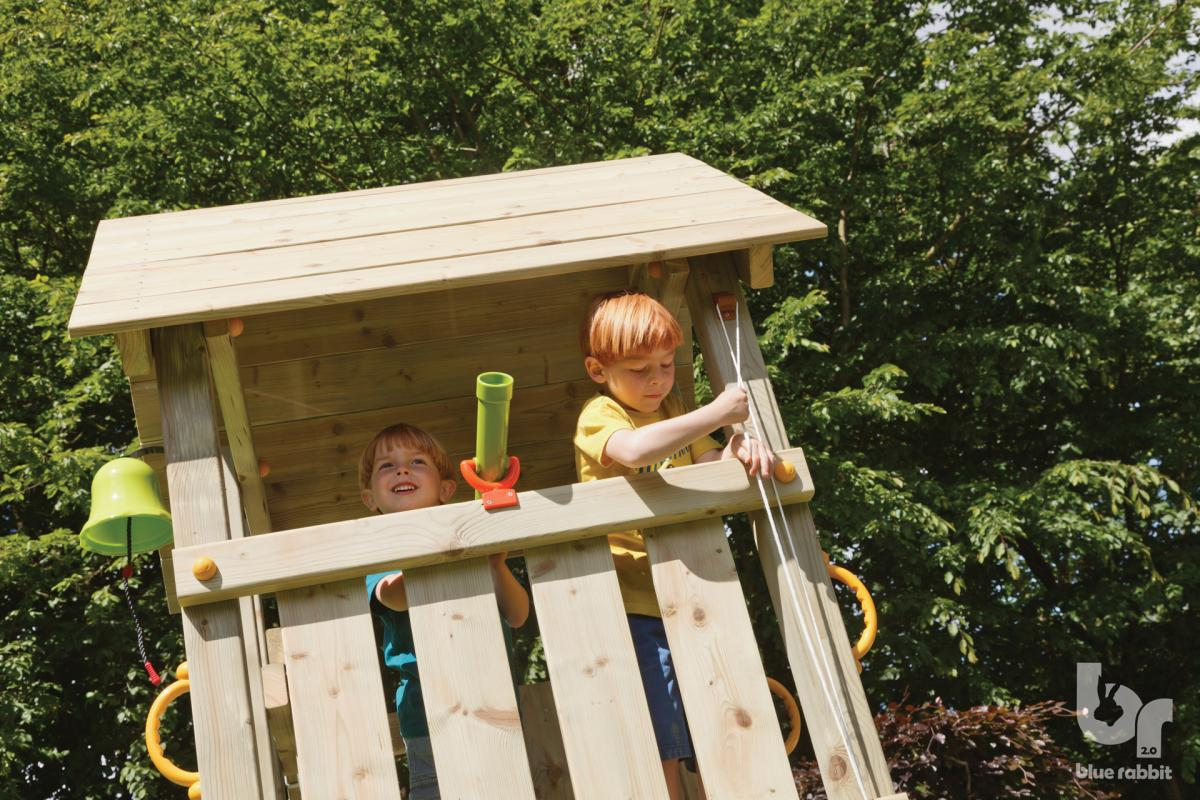 wooden blue rabbit playtower with boys hoisting flag