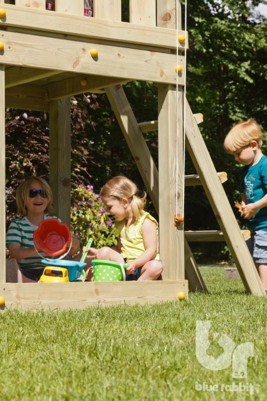 wooden blue rabbit playtower with children playing in sandpit