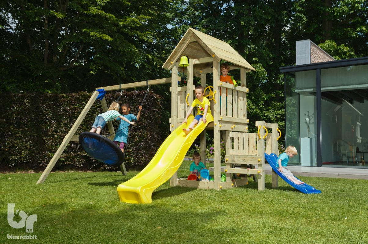 wooden blue rabbit playtower with extra platform and addon swing