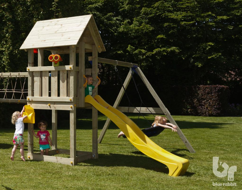 wooden blue rabbit playtower with yellow slide and addon swing