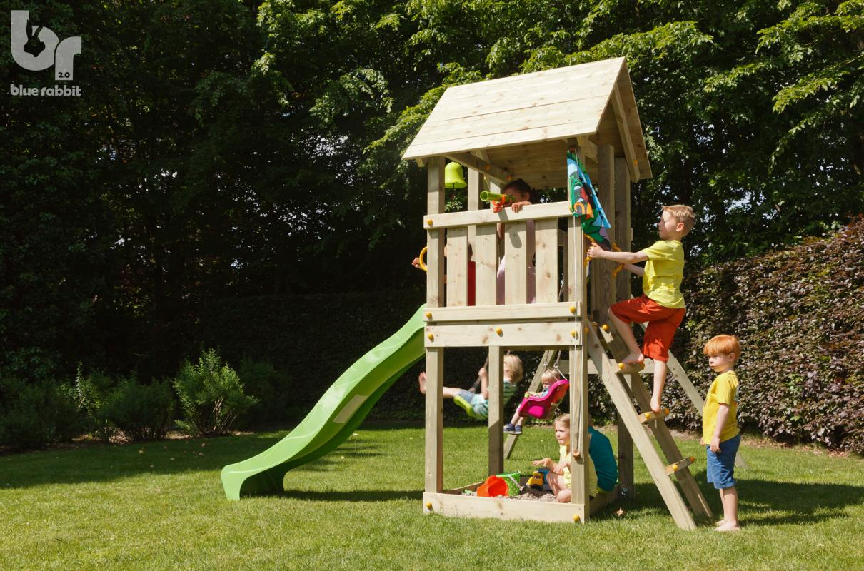wooden blue rabbit playtower with boy climbing stairs and green slide