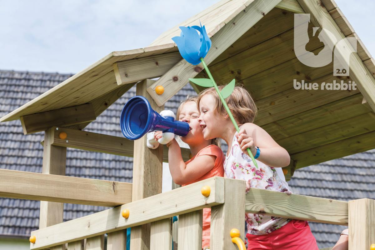 wooden blue rabbit playtower pagoda with girls shouting in megaphone