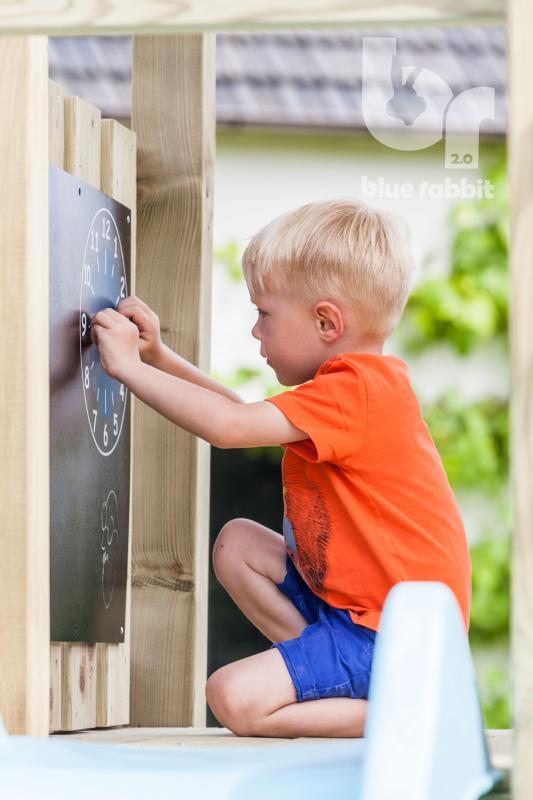 wooden blue rabbit playtower pagoda with boy drawing on blackboard