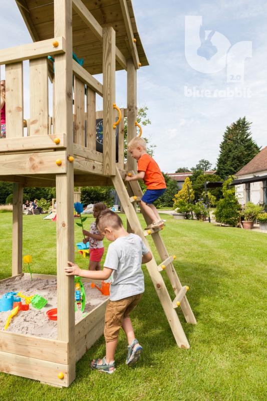 wooden blue rabbit playtower pagoda with boy climbing the ladder