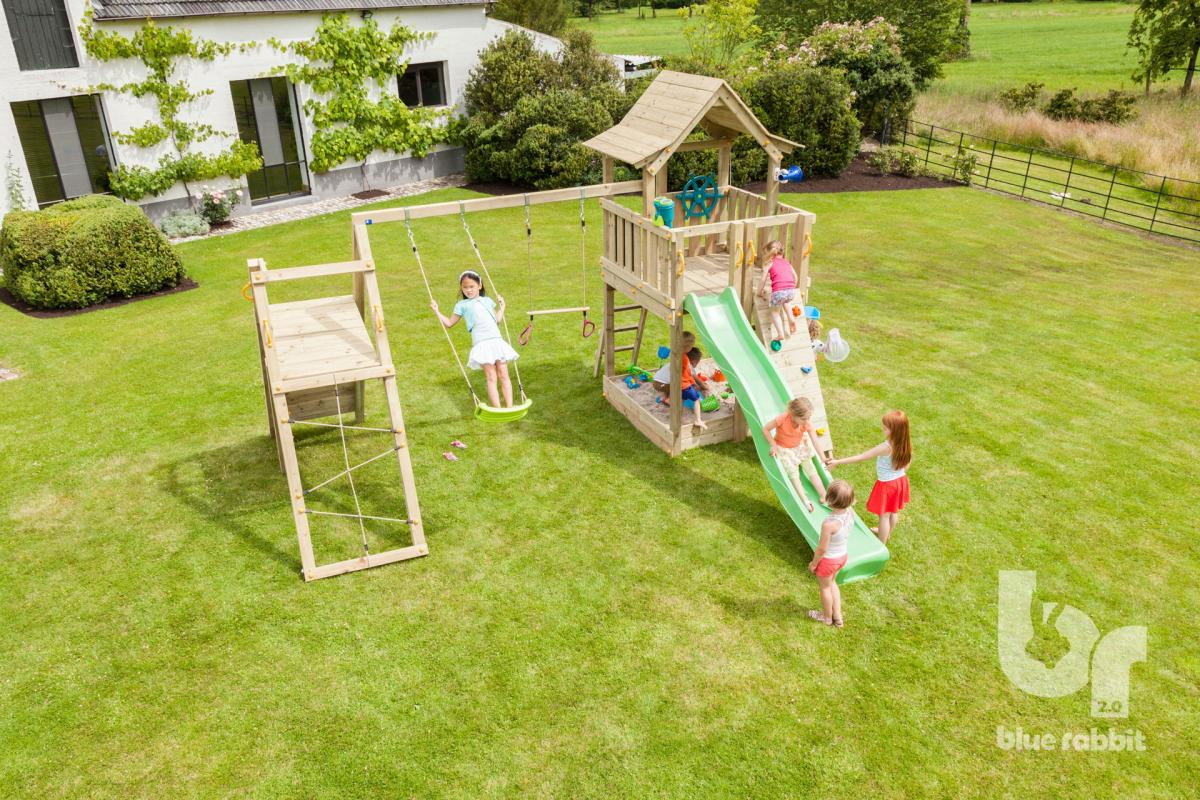 wooden blue rabbit playtower pagoda with slide and challenger swing
