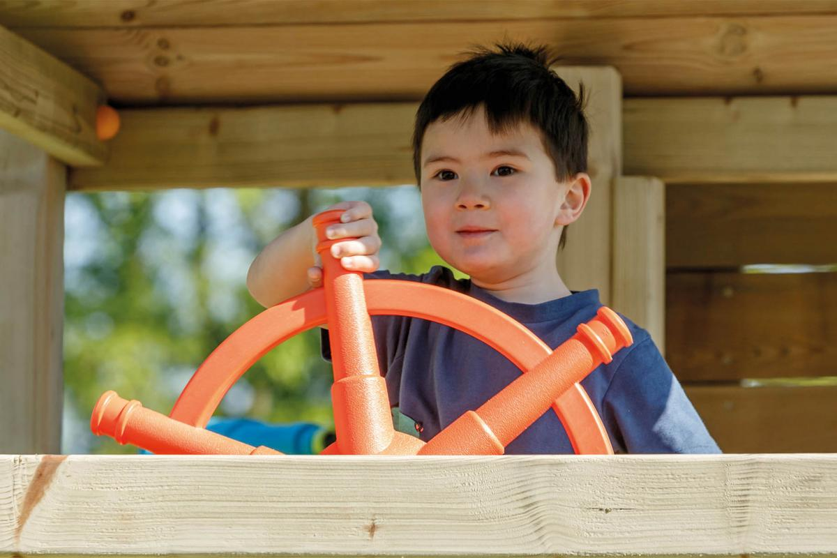 wooden blue rabbit playtower Palazzo with steering wheel
