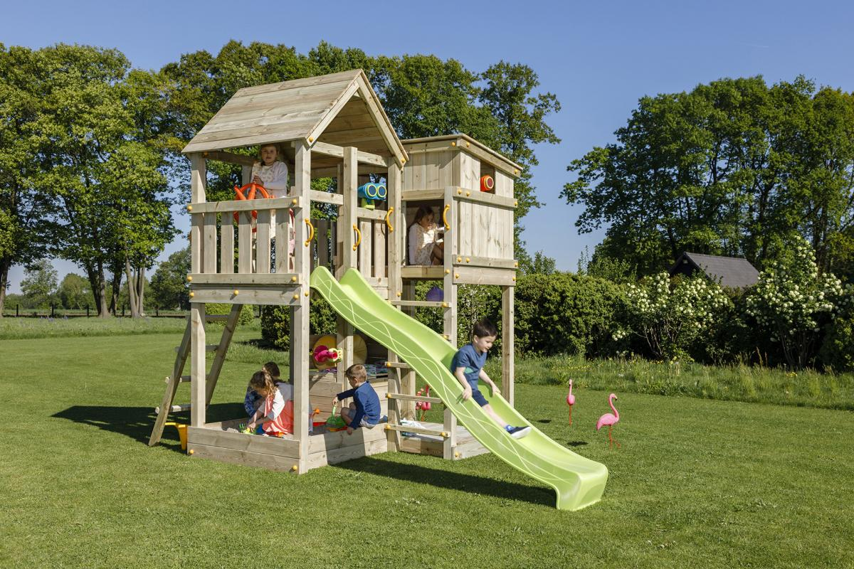 wooden blue rabbit playtower Palazzo with slide