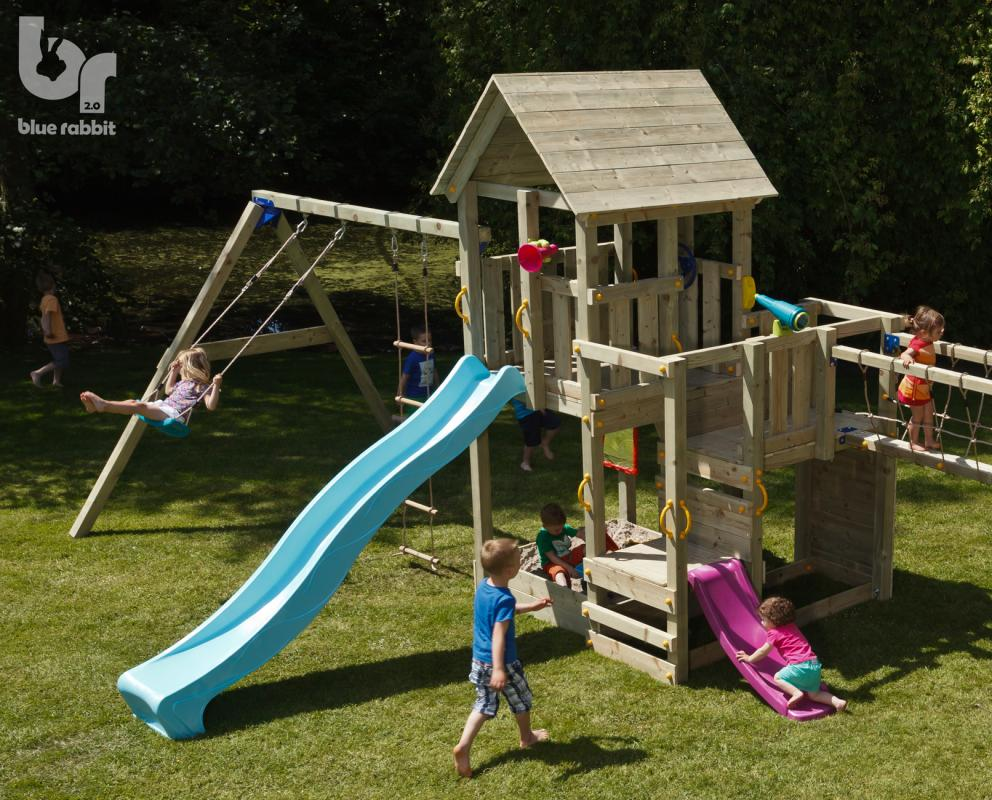 wooden blue rabbit playtower penthouse with addon swing and connecting bridge