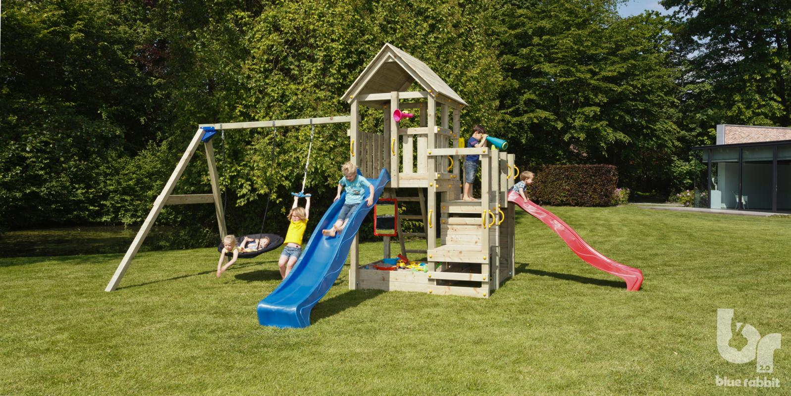 wooden blue rabbit playtower penthouse with blue and red slide