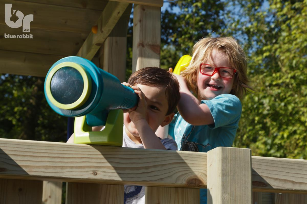 wooden blue rabbit playtower penthouse with girl with telephone and boy peeking in telescope
