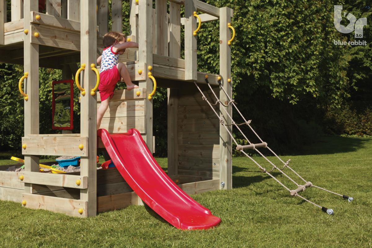 wooden blue rabbit playtower penthouse with boy climbing on platform