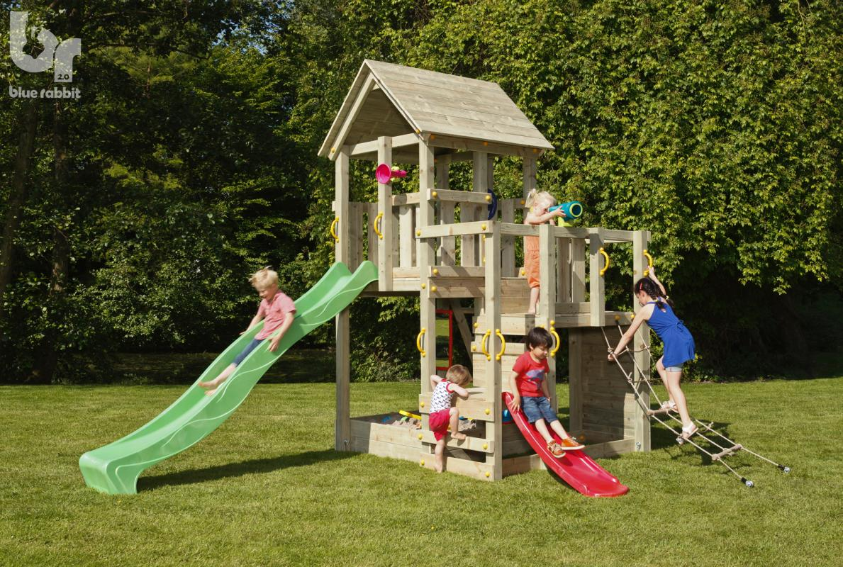 wooden blue rabbit playtower penthouse with boy on apple green slide and girl climbing net