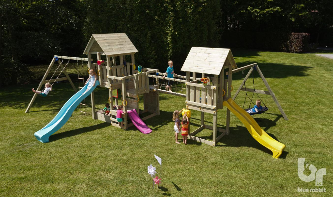 wooden blue rabbit playtower with connecting bridge, addon swings and slides