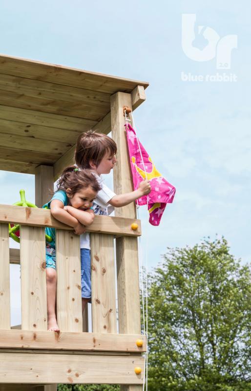 wooden Blue Rabbit playtower cascade with boy hoisting flag