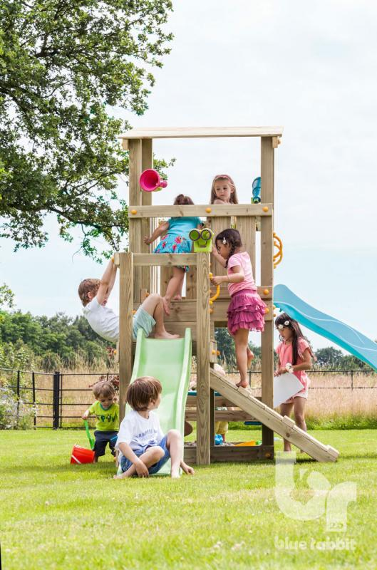 wooden Blue Rabbit playtower cascade with girls and boys playing